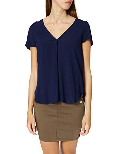 Springfield Camiseta Bimateria Lisa, Azul Medio, XS para Mujer