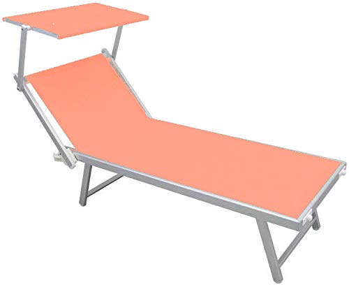 Totò Piccinni Salento Lettino Prendisole Pieghevole 186x61x38cm in Alluminio con TETTUCCIO (Beige)