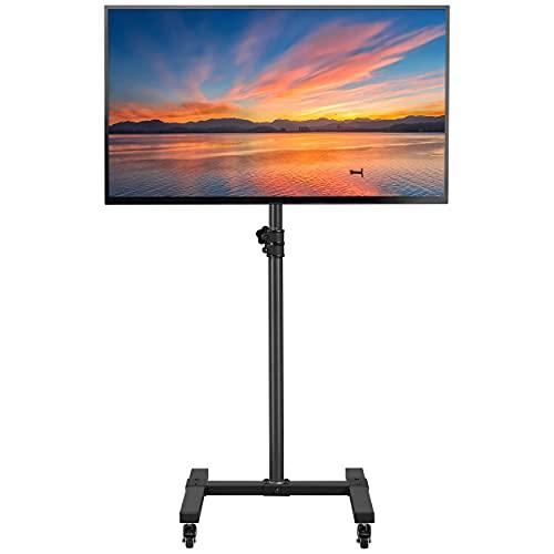 Yaheetech Supporto TV Pavimento con Ruote Carrello Mobile Stand Porta TV da 13 a 42 Pollici Schermi LCD/LED/Plasma Inclinabile in Metallo Altezza Regolabile Max Vesa 200 x 200 mm Nero