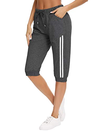 Doaraha Pantalones Pirata de Running Mujer Pantalón Capri Pants Deportivos 3/4 Capris Chándal Cintura Alta con Bolsillo para Deporte Yoga Fitness Correr Entrenamiento (Gris Oscuro, S)