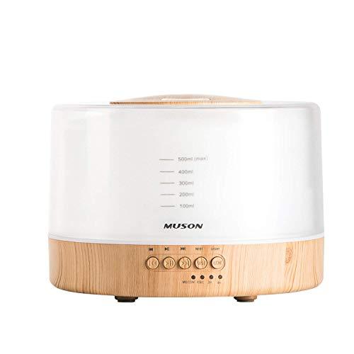 Aroma diffuser 500ml Diffusor Sound Machine Combo Diffusor für Aromatherapie Duftendes Öl Cool Mist Luftbefeuchter mit natürlicher Klangmusik und warmem Nachtlicht, wasserloses Auto aus, Weiß