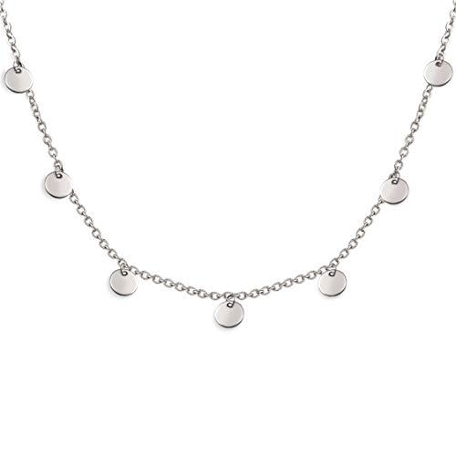 SHINE & WANDER Tiny Coin Necklace | Damen Boho Edelstahl Halskette mit 8 Plättchen in Gold, Silber und Roségold | verstellbar (Silber)