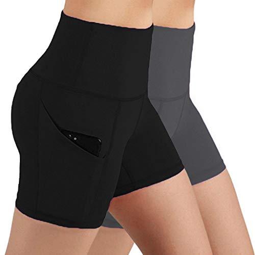 URIBAKY - Leggings de cintura alta, elásticos de deporte para mujer, pantalones cortos de levantamiento de caderas, entrenamiento, yoga, pantalones cortos negro / marrón S