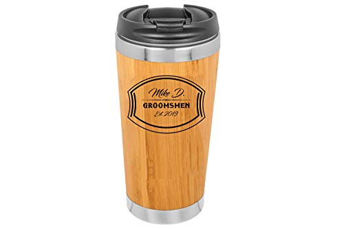 Personalized Stainless Steel Bamboo Coffee Tumbler | Bamboo Travel Coffee Mug - Stainless Steel