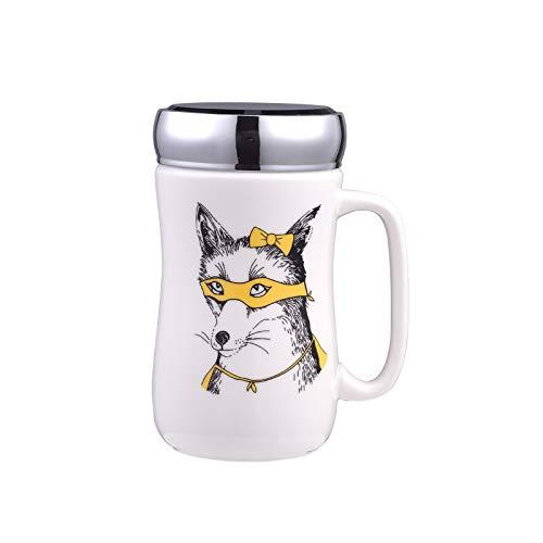 ねじ口ふた付きマグカップ(動物デッサン) 蓋付き ふた付き 陶器製 可愛い お洒落 大容量 コーヒー 紅茶 ジュース牛乳 カフェオレ こぼれない (狼)