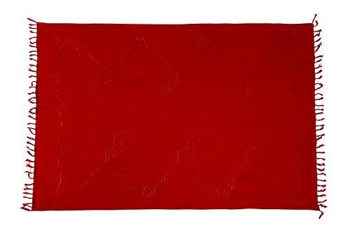 Ciffre Premium Sarong Pareo Wickelrock Strandtuch Lunghi Dhoti Schlicht Blickdicht Tolle Stickerei Bordeaux Dunkel Rot + Schnalle