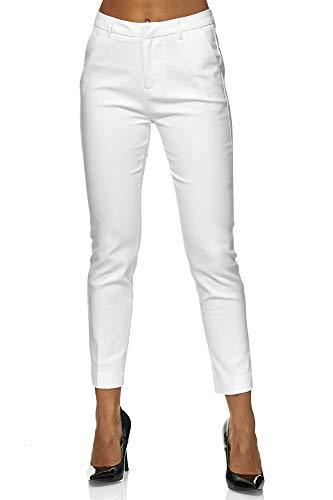 Elara Pantaloni da Donna Chino Chic Slim Fit Chunkyrayan Bianco VS19031-2A White-36 (S)