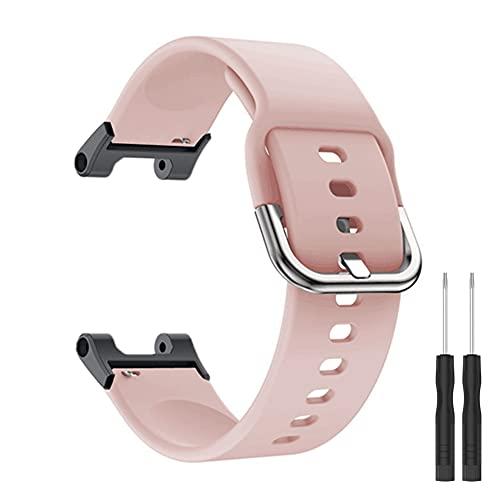 KangPlus Compatible con las correas de reloj Amazfit T-Rex Pro, correa de silicona suave, transpirable, ajustable, con herramienta de instalación para mujeres y hombres, color rosa