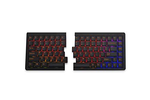 Mistel BAROCCO MD770 RGB LED Backlit TKL Split Mechanical Keyboard with Cherry MX Brown Switch, Ergonomic Keyboard with Orange Letter PBT Double Shot Keycaps for Windows and Mac, Macro Support, ANSI