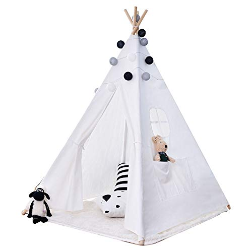 Teepee for Kids Play Tents For Girl Or Boy Foldable Children Playhouse Toys For Baby Indoor And Outdoor Playing 4 Wooden Pole Tipi Pink White Toys for Indoor and Outdoor