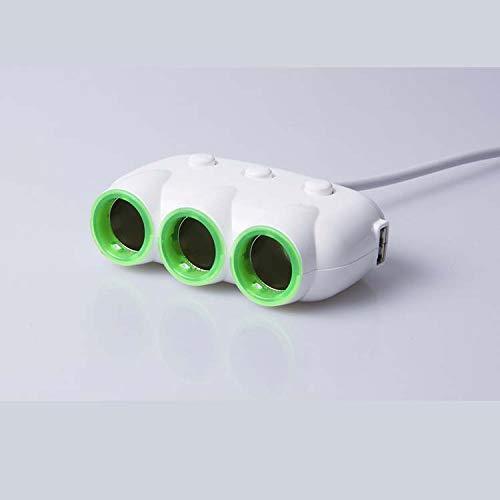 Xiaojie Encendedor de cigarrillos para coche, uno con tres fuentes de alimentación multifunción, uno para coche con dos enchufes de conversión para cargador de coche, color blanco
