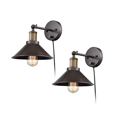CLAXY Industrial Swing Arm Wall Sconce Simplicity 1 Light Wall Lamp-2 Pack