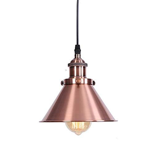 HJXDtech Luz colgante industrial de metal vintage, retro E27 Loft Bar Lámpara colgante de techo pequeña con pantalla de hierro (Cobre rojo)