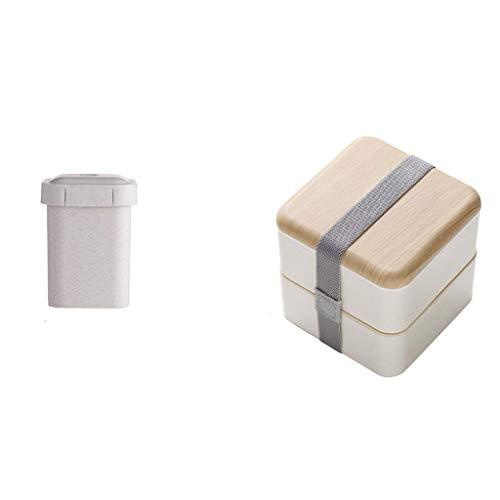 Fiambrera, 2 piezas Bento Set portátil aislado a prueba de fugas 1.4L Contenedor de 2 capas para sopa de microondas Teen School Office 13,5 x 13 cm