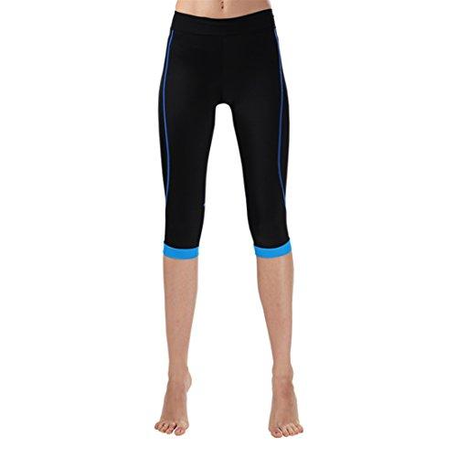 GWELL Damen Fahrradhose Radlerhose mit Sitzpolster Radhose 3/4 Komfort Slim Fit blau 2XL - 4
