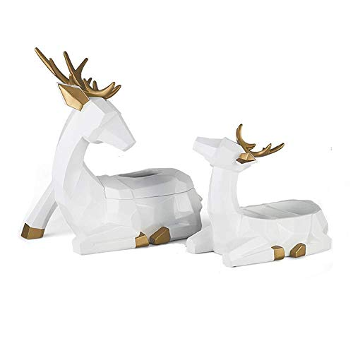 ZLJ 2 Pack Resin Cute 3D Deer Handkerchief Box Holder Funny Moose Reindeer Paper Cover and Remote Control Organizer Box for Living Room Decoration White