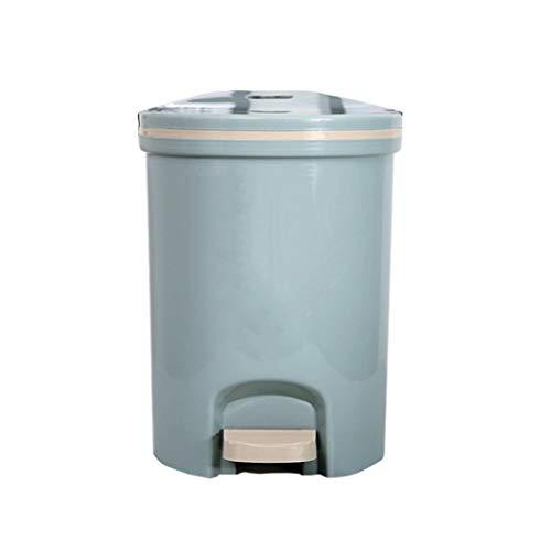Bote de Basura Bote de Basura Tipo Pedal Hogar Sala de Estar Dormitorio Baño con Tapa Tapa de Basura Bote de Basura 16 litros Bote de Basura Humano Simple (Color : Blue, Size : 16L)