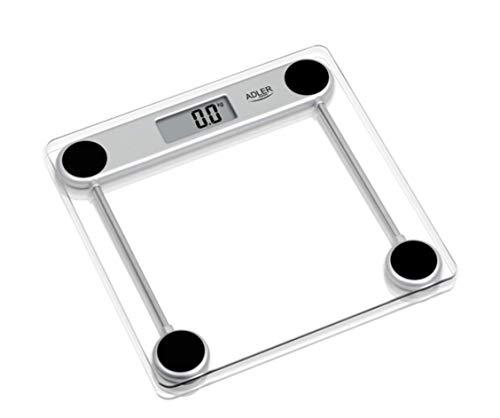Adler ad8121 - Báscula de baño, transparente, vidrio, lcd