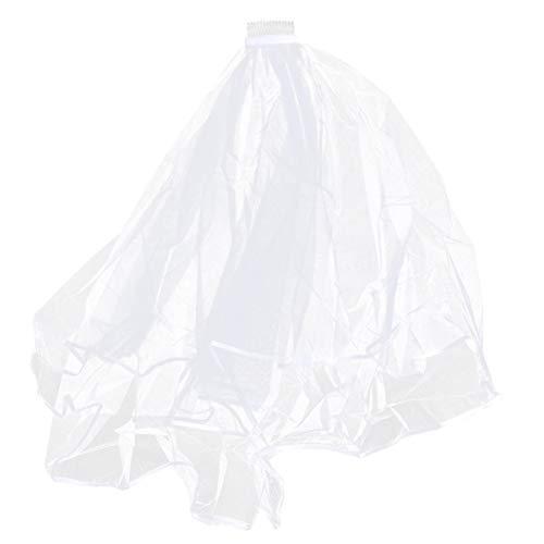 Beaupretty voile de gaze de mariée avec voile de mariée en dentelle peigne longue feuille de gaze double couche insérer tulle voile gaze (beige)
