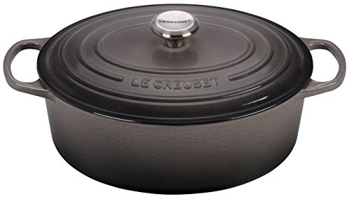 Le Creuset LS2502-317FSS Signature Enameled Cast-Iron Oval French (Dutch) Oven, 6.75 Quart, Oyster