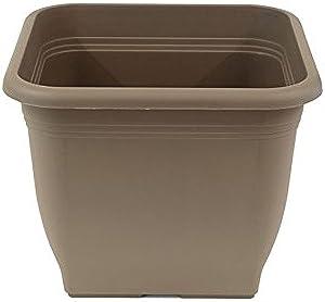 greemotion Pot de fleurs carré en plastique 40 x 40 cm 25L - Pot pour plantes extérieures et intérieures - Pot de jardin couleur taupe