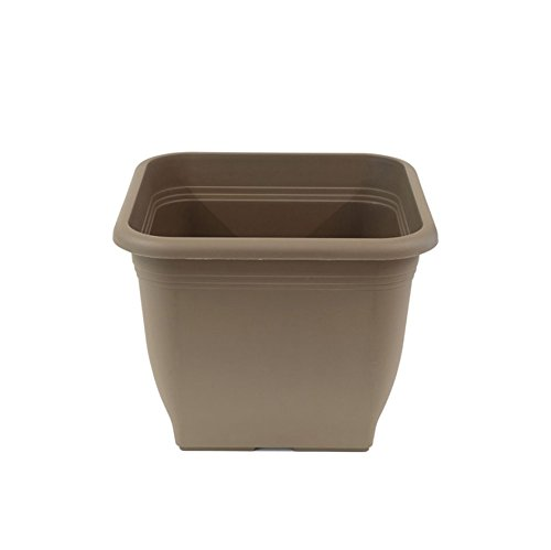 Greemotion Plastic Flower Pot Pia - Flower Pot - Square Planting Pot for Indoors or Outdoors - Taupe Plant Pot 40 cm - Garden Pots and Planters