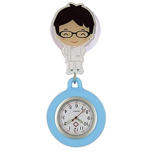 Pequeño reloj de enfermera Nurse Watch Broche Dibujos animados Escalable Escalable Reel Enfermera Enfermera Relojes de bolsillo Cuarzo Ladies Mujeres Hombres Relojes de regalo Colgando Reloj de bolsil