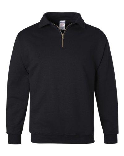 Jerzees Super Sweats Pull Polaire en Polycoton avec Fermeture Éclair 1/4 Noir Taille S - Noir - M