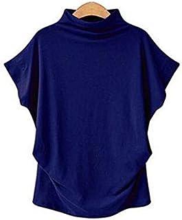 Women Casual Turtleneck Short Batwing Sleeve Blouse Female Cotton Solid Plus Size Tops Ladies Shirt Clothing (Color : Roya...