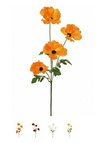 Künstlicher Blumenstiel, Wildblumwiesen-Mohn, mit 4 Köpfen, Auswahl von 4Farben.Ein Bund Wildmohn. Orange