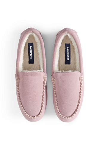 Lands' End Women's Suede Moccasin Slippers Washed Pink