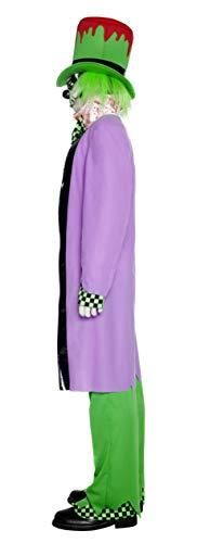 SMIFFYS Smiffy's Costume Cappellaio Malvagio, Top, Pantaloni, Cappello, Camicia, Copriscarpe e Gu Uomo, Viola, L-Dimensione 42