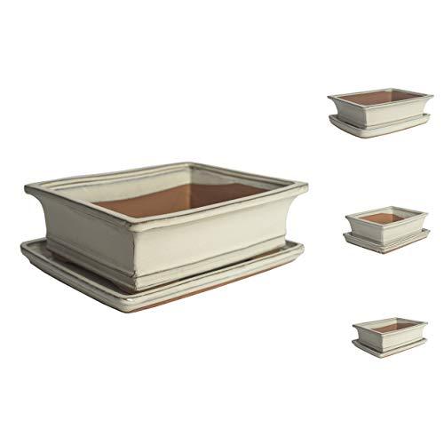 Keramik Bonsaischale in verschiedenen Groessen - Weiss- hochwertiger Blumentopf mit Unterteller/Schale - geflammt für drinnen und draussen, oval - Indoor/Outdoor (26cm)