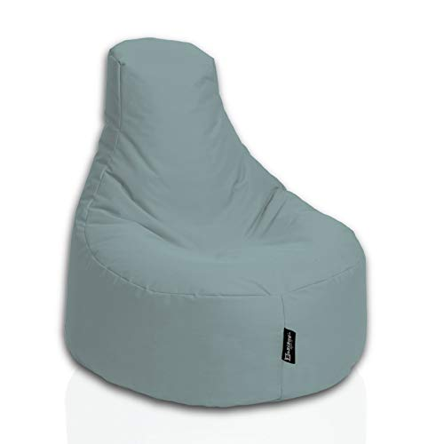 BuBiBag Sitzsack Gamer Junior Sessel Sofa Sitzkissen Sitzmöbel Beanbag Sitz-Kissen für Kinder (55 cm Durchmesser,Grau)