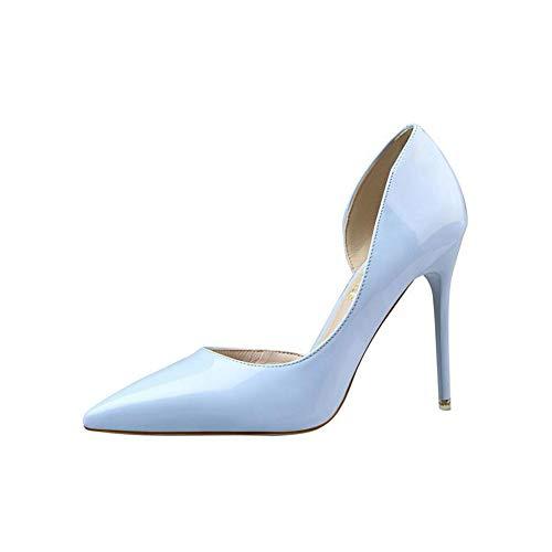 Elegant Damen High Heel Spitz Geschlossene Zehe Bequeme Lack Stilettos Party Büroarbeit Schuhe Pumps Abendschuhe Blau EU 40