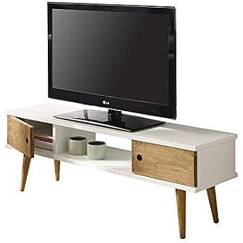 HOGAR24 ES Mesa Television, Mueble TV Salon diseño Vintage, 2 Puertas y Estante, Color Blanco Combinado con Madera Natural. Medidas 110 cm x 40 cm x 30 cm: Amazon.es: Hogar