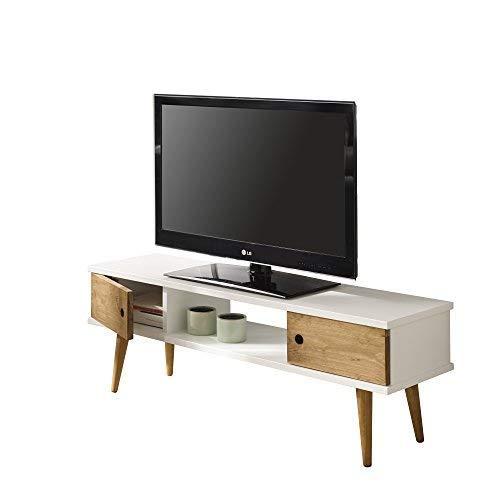 HOGAR24 ES Mesa Television, Mueble TV Salon diseño Vintage, 2 Puertas y Estante, Color Blanco Combinado con Madera Natural. Medidas 110 cm x 40 cm x 30 cm