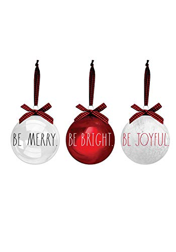Rae Dunn Christmas Ornaments - Set of 3 Red and Clear Glass Balls - Be Merry, Be Bright, Be Joyful - 100mm / 3.94 Inch Large Hanging Holiday Decorations for Xmas Tree