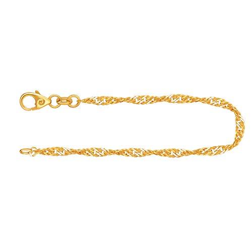 Feines Armband Damen Echt Gold 2,4 mm, Singapurkette aus 333 Gelbgold, Goldarmband mit Stempel und Karabinerverschluss, Länge 19 cm, Gewicht ca. 1,7 g, Made in Germany