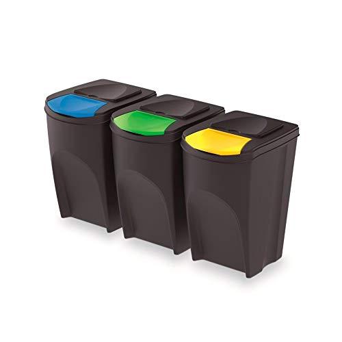 rg-vertrieb 3er Set Prosperplast Sortibox 105L Kunststoff Anthrazit 3x35L