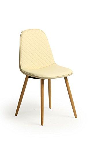 Beechwood 2 stuks retro-stoelen, Scandinavisch design, modieus, Scandinavisch design, kunstleer, eetkamer/bureaustoel, solide poten