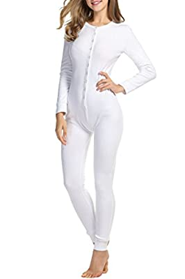Hotouch Women's Thermal Underwear Set Top Buttoned Soft Jumpsuit for Autumn Union Suit White XL