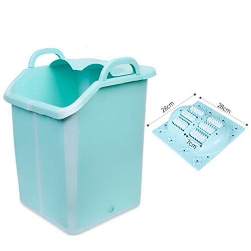 Fantastic Prices! Foot Spa Bath Massager with Heat – Foot Massager Machine Feet Soaking Tub Spa Roller Massage Mode Folding foot bucket for besyt gifts-green-style2