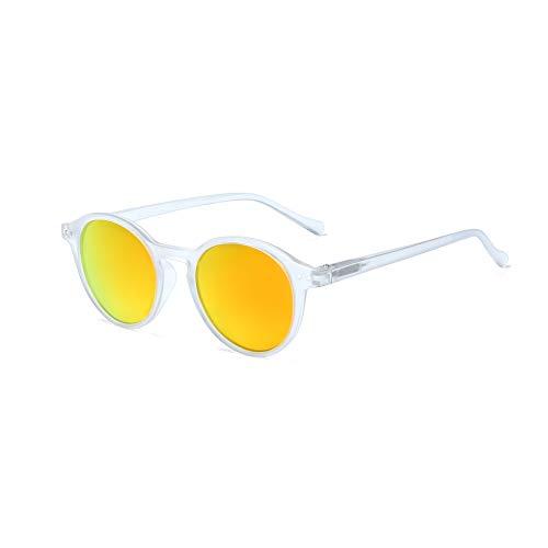 ZENOTTIC Gafas de sol Polarizadas Redondo Retrospectivo Clásico Retrospectivo Lentes de sol Marco UV400 Para hombres y mujeres (CRISTAL MATE + ROJO REFLECTANTE)