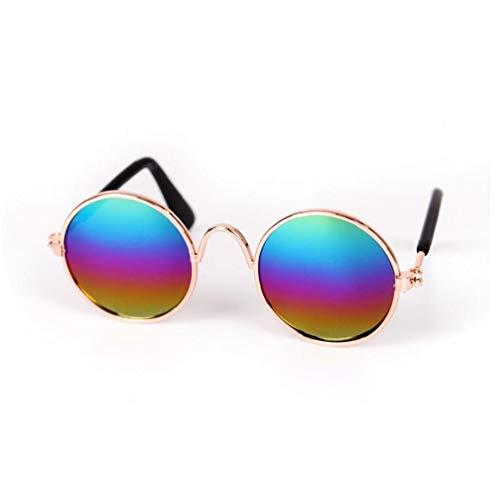 tJexePYK Pet Gafas de clásicas Gafas de Retro Circulares metálicas para Gato, Chihuahua o Perros pequeños (Multicolor) 1 PC