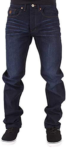 Rocawear Men's Double R Loose Fit Denim Jeans, Black Blue Grey (30W / 33L, Dark Knight Blue)