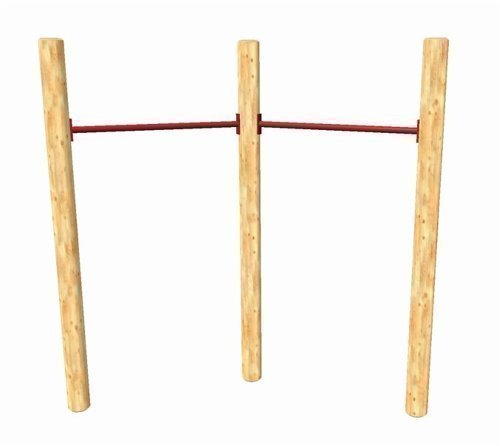 Loggyland Reckanlage, Turnreck, Reck, Metallreck, Kinderreckanlage (Doppel-Lärche rund 90 cm, rot)