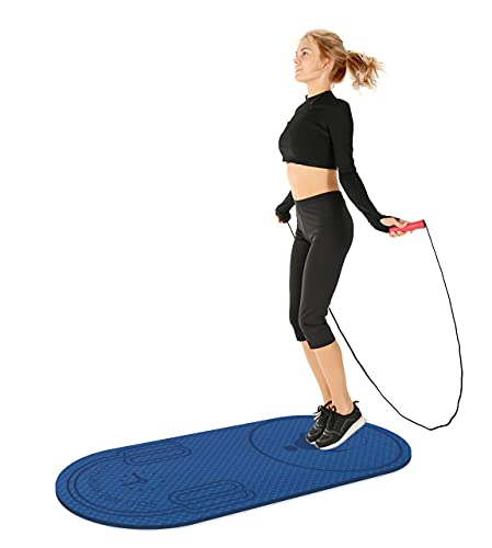 Knsbk Non-Slip Jump Rope Mat Shock Absorption Rope Skipping Mat for Adults & Children Home Indoor Workout Exercise Mat in Blue