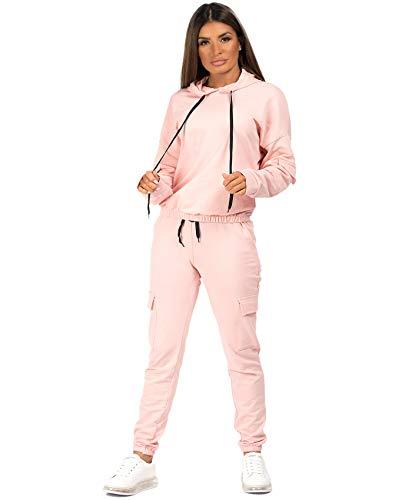 Lexi Fashion Womens Ladies Utility Pocket 2Pcs Drawstring Joggers Bottoms Combat Pants Casual Loungewear Tracksuit Hooded Top Co Ord Set Pink UK Size SM 810