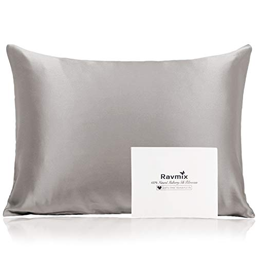 Ravmix Mulberry Silk Pillowcase for Hair and Skin with Hidden Zipper, Both Sides 100% 21Momme Pure Silk, 1PCS, Standard Size 20×26inches, Apricot Gray